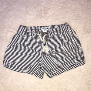 Navy and white striped shorts. Elastic waist